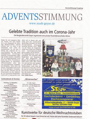 """Artikel im Wochenspiegel """"Pyramidenanschieben  2020"""""""