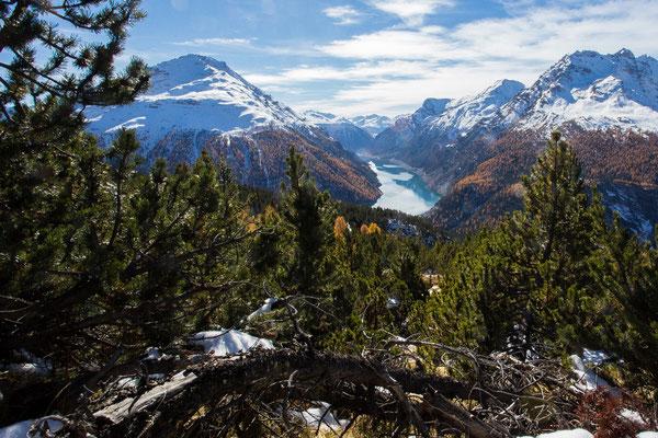 Blick auf den Lago di Livigno vom Weg auf den Munt la Schera im Schweizer Nationalpark im Engadin