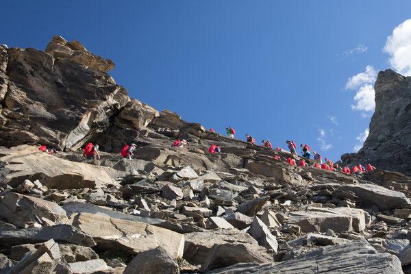 Die Übernachtung in der Hörnlihütte nusste mit den ersten 700 Höhenmetern verdient werden