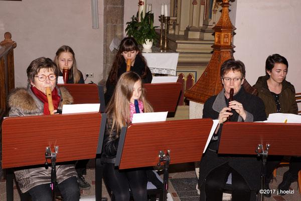 Das Blockflötenensemble der Musikschule Waizenkirchen, Leitung von Andrea Scheiterbauer