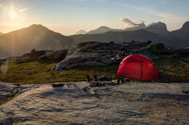 Camp unter dem Midtitinden (Sjunkhatten NP)