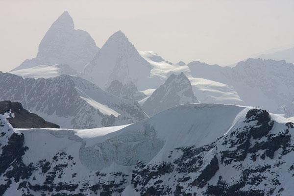 Matterhorn und Dent d'Herens vom Combin Boveire, Schweiz