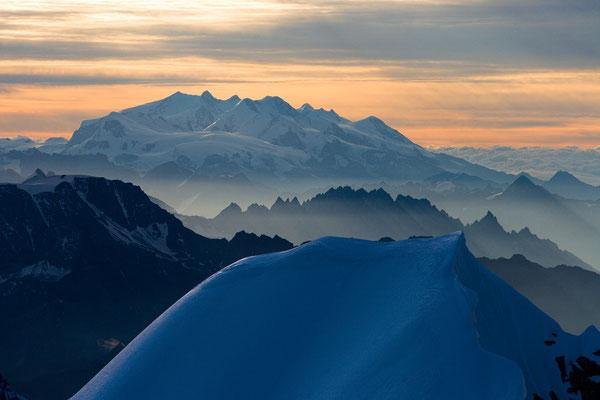 Monte Rosa Gruppe vom Mont Maudit, Frankreich