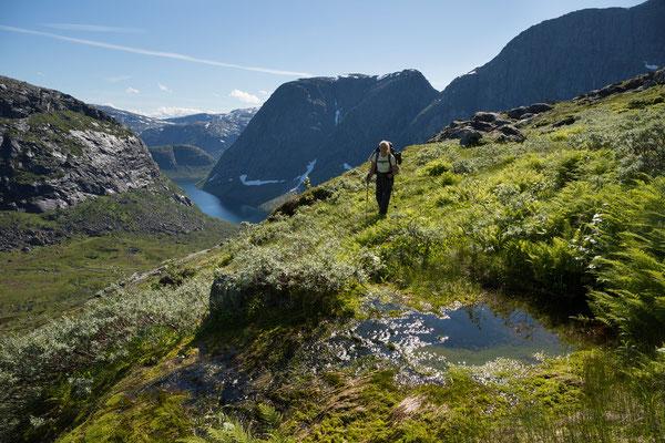 Abstieg ins Bogvassdalen (Sjunkhatten NP)