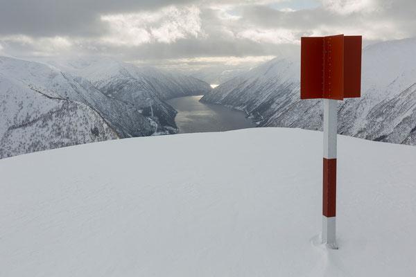 Fjærlandsfjorden vom Skredfjellet, Sogn og Fjordane, Norwegen