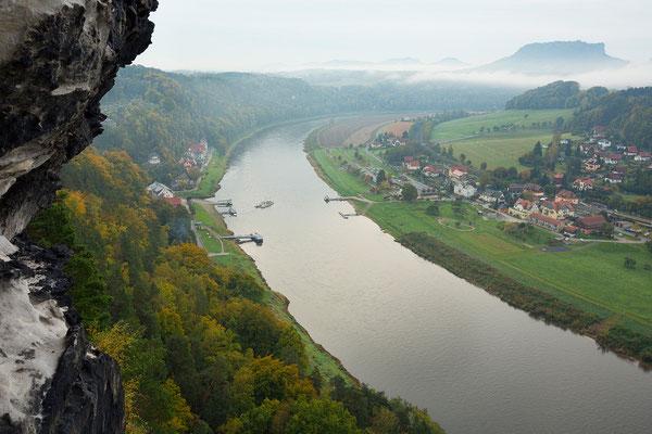 Elbe mit Rathen und Lilienstein, sächsische Schweiz