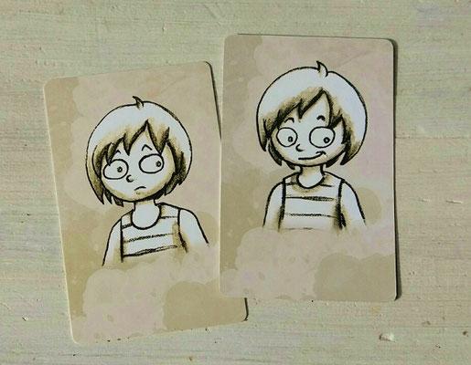 Insgesamt 4 Kinderporträt-Kärtchen als Erinnerungshilfe...