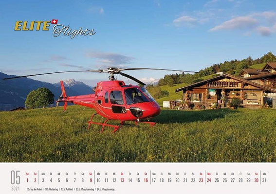 Elite Flights Kalender 2021, Mai, AS 350 B2 Ecureuil, HB-ZPF, Aeschiried