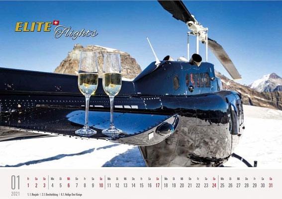 Elite Flights Kalender 2021, Januar, Bell 206 Jet Ranger HB-ZPZ, Petersgrat
