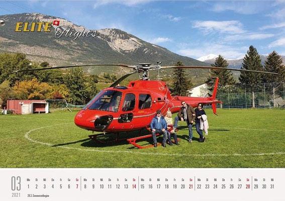 Elite Flights Kalender 2021, März, AS 350 B2 Ecureuil, HB-ZPF, Salgesch