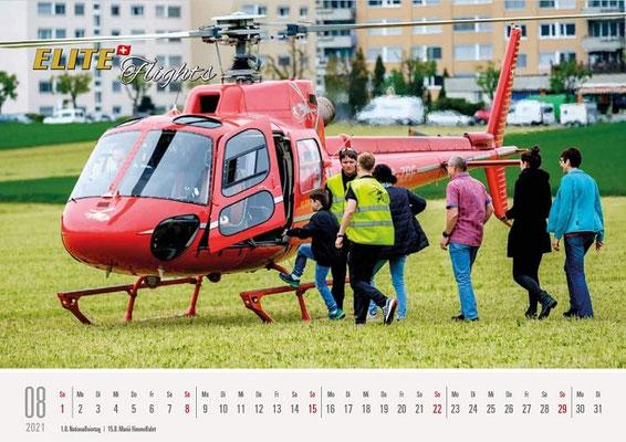 Elite Flights Kalender 2021, August, AS 350 B2 Ecureuil, HB-ZPF, Untersiggenthal, Obersiggenthal