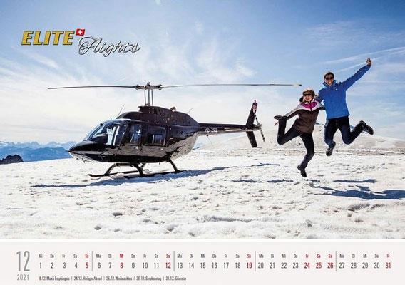 Elite Flights Kalender 2021, Dezember, AS 350 B2 Ecureuil, HB-ZPF, Petersgrat