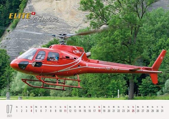 Elite Flights Kalender 2021, Juli, AS 350 B2 Ecureuil, HB-ZPF, Burgdorf