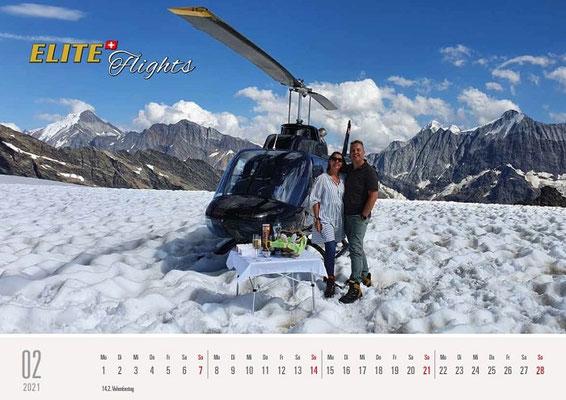 Elite Flights Kalender 2021, Februar, Bell 206 Jet Ranger HB-ZPZ, Petersgrat