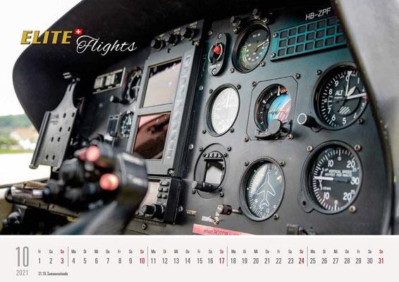 Elite Flights Kalender 2021, Oktober, AS 350 B2 Ecureuil, HB-ZPF, Cockpit