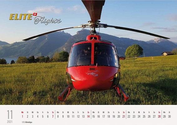 Elite Flights Kalender 2021, November, AS 350 B2 Ecureuil, HB-ZPF, Aeschiried
