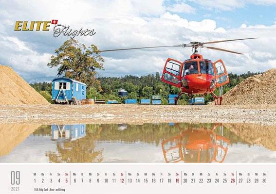 Elite Flights Kalender 2021, September, AS 350 B2 Ecureuil, HB-ZPF, Langenthal