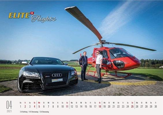 Elite Flights Kalender 2021, April, AS 350 B2 Ecureuil, HB-ZPF, Luzern-Beromünster