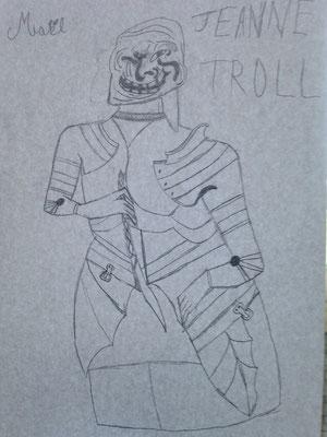 Jeanne Troll, une version peu commune d'une enluminure représentant Jeanne d'Arc par Maël