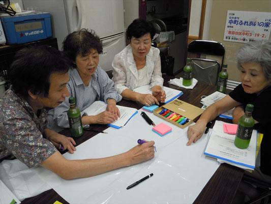 花さんチームの熱心が議論 女性陣に囲まれ北村さん孤軍奮闘