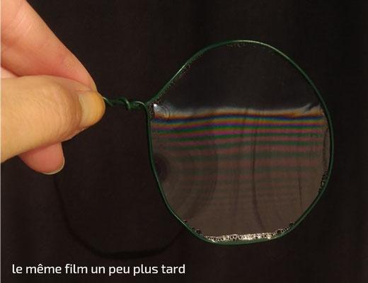 Film de savon vertical ; couleurs interférentielles ; franges d'égale épaisseur