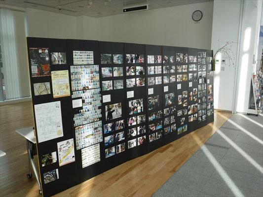 前年度の様子を紹介する活動記録展を開催。市役所や商工会議所のロビー、カフェやギャラリーを巡回しました。