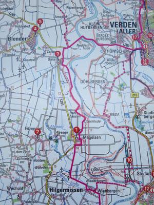Der Weser-Radweg nach Abschluss der Qualitätsoffensive zwischen Oiste und Magelsen. Kosten für die Qualitätsoffensive Weser-Radweg im Landkreis Verden insgesamt 166000€, davon von der Samtgemeinde Thedinghausen 26000€ gezahlt.