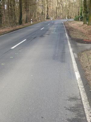 L 354 in Bahlum: Nur 200m von der anderen Unfallstelle wird am 8.3.15 eine Motorradfahrerin nach einem Sturz nach der Kurve und der Kollision mit einem Geländewagen schwer verletzt.