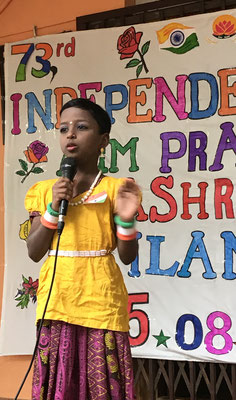 Murugalakshmi holding a small speech, Independence Day