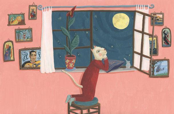 Mia schaut aus dem fenster und bittet den Mond um einen Freund.