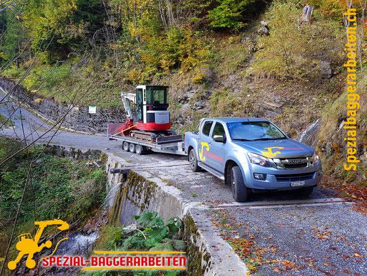 Spezial-Baggerarbeiten Adrian Krieg GmbH  Telefon 079 586 32 47 Bachverbau Bachsanierung Bachumleitung Uferbau Ufersanierung Renaturierung Biotop Böschungssanierung