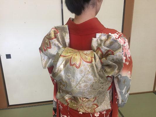 2015.7 振袖帯結び「青海波」