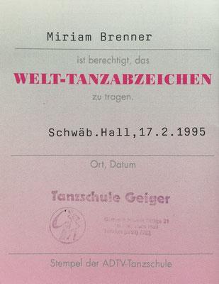 Welttanzabzeichen SHA (BRD)
