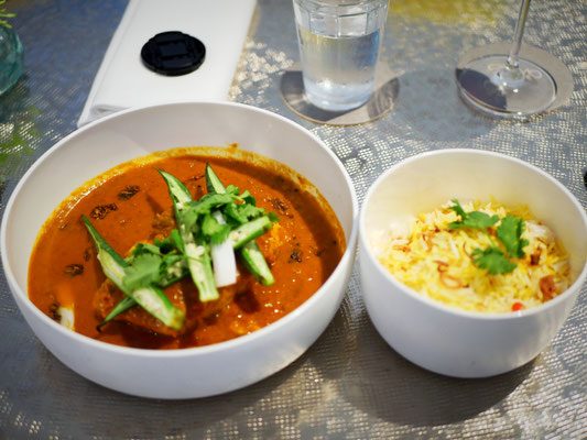Fish curry with tomato, coconut, tamarind, okra and saffron rice at Como Cuisine Singapore Dempsey Hill