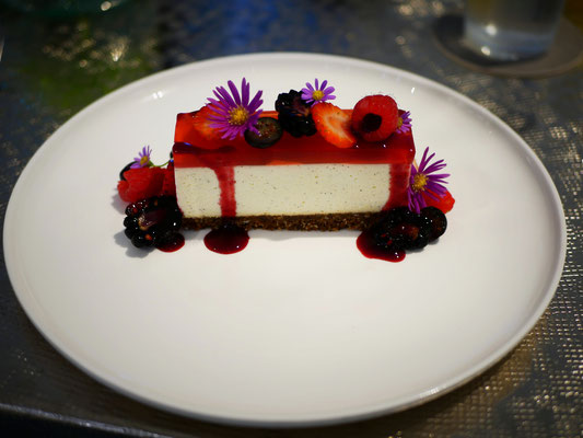 Strawberry glazed cheesecake with berries and oat crumbs at Como Cuisine Singapore Dempsey Hill