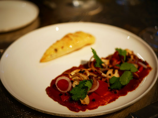 Grilled squid with watermelon, romesco, coriander and olive at Como Cuisine Singapore Dempsey Hill