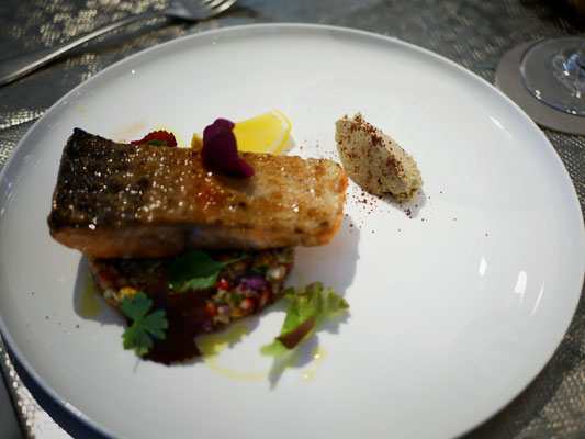 Ocean trout with smoked eggplant, cauliflower, pomegranate, quinoa at Como Cuisine Singapore Dempsey Hill