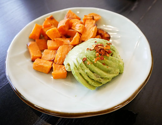 Roasted sweet potato and avocado at Kitchen by Food Rebel