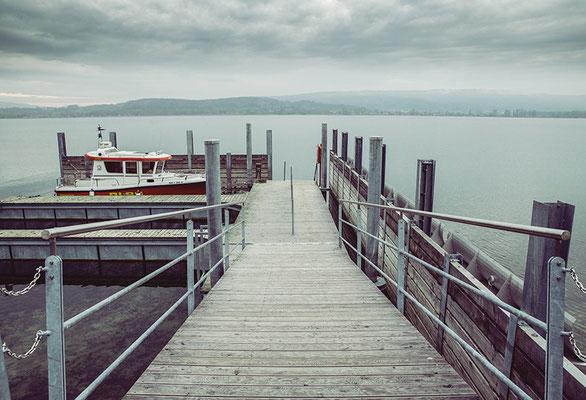 Stainless steel wavebreaker/Lake Constance
