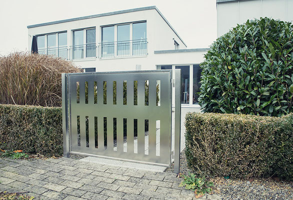 Electropolished stainless steel garden gate