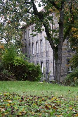 """Blick vom Garten auf die Rückseite des """"Schwacher Hauses"""""""