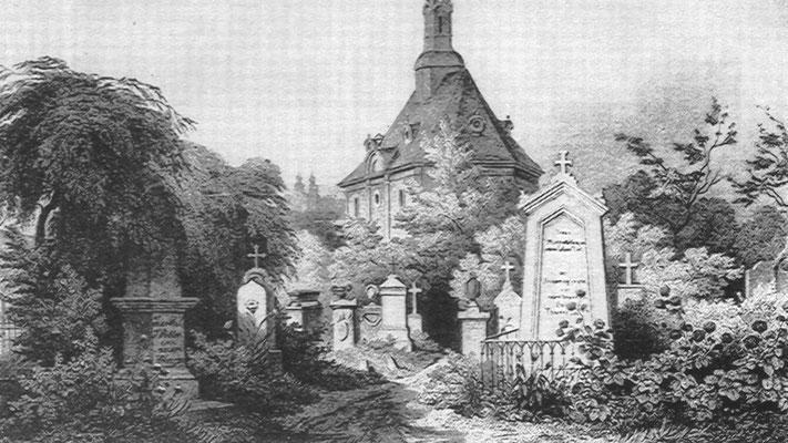 Jean Paul und seines Sohnes Grab auf dem Bayreuther Friedhof – Heinrich Stelzner 1861