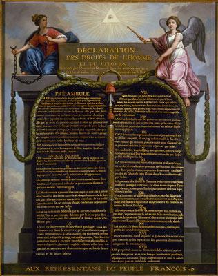 Déclaration des Droits de l'Homme et du Citoyen. Die Erklärung der Menschen- und Bürgerrechte in einer Darstellung von Jean-Jacques Le Barbier 1789