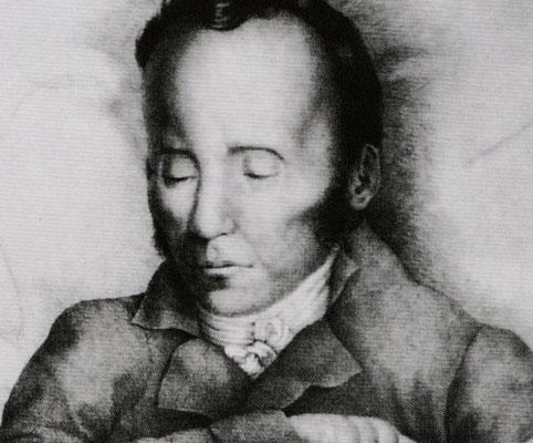Jean Paul auf dem Totenbett – Bleistiftzeichnung Joseph Würzburger