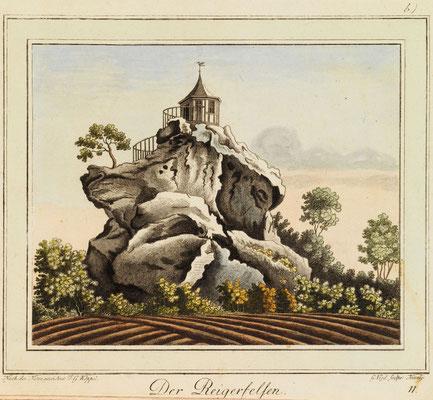 Der Reigerfelsen, Zeichnung von Johann Gottfried Köppel, 1793