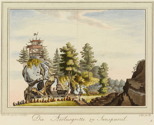 Die Aeolusgrotte zu Sanspareil, Zeichnung von Johann Gottfried Köppel, 1793