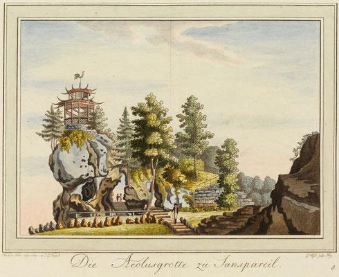 Die Aeolusgrotte zu Sanspareil – Zeichnung von Johann Gottfried Köppel 1793