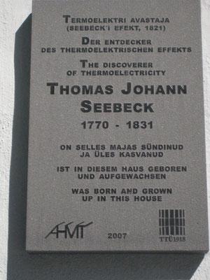 Tafel an Seebecks Geburtshaus in Tallinn