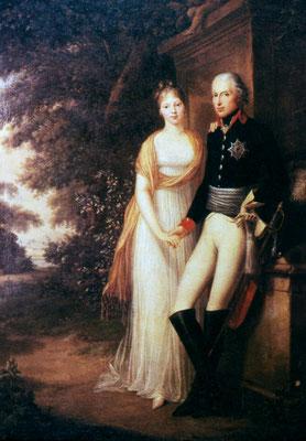 Friedrich Wilhelm III. und Königin Luise im Park von Schloss Charlottenburg – Ölgemälde von Friedrich Georg Weitsch 1799