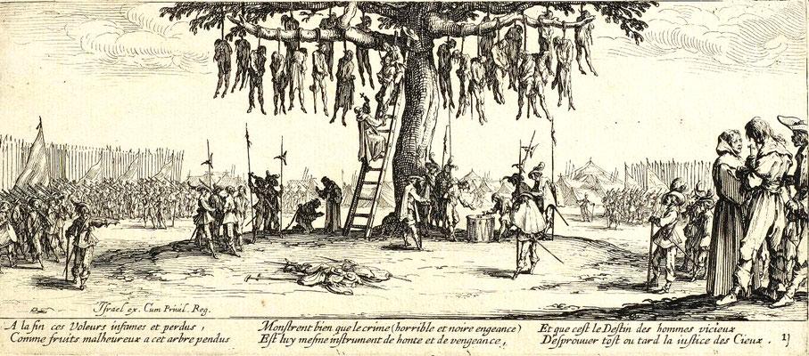»Der Galgenbaum«, aus dem 18-teiligen Radierzyklus »Die großen Schrecken des Krieges« nach Jacques Callot (1632) – Gemeinfrei